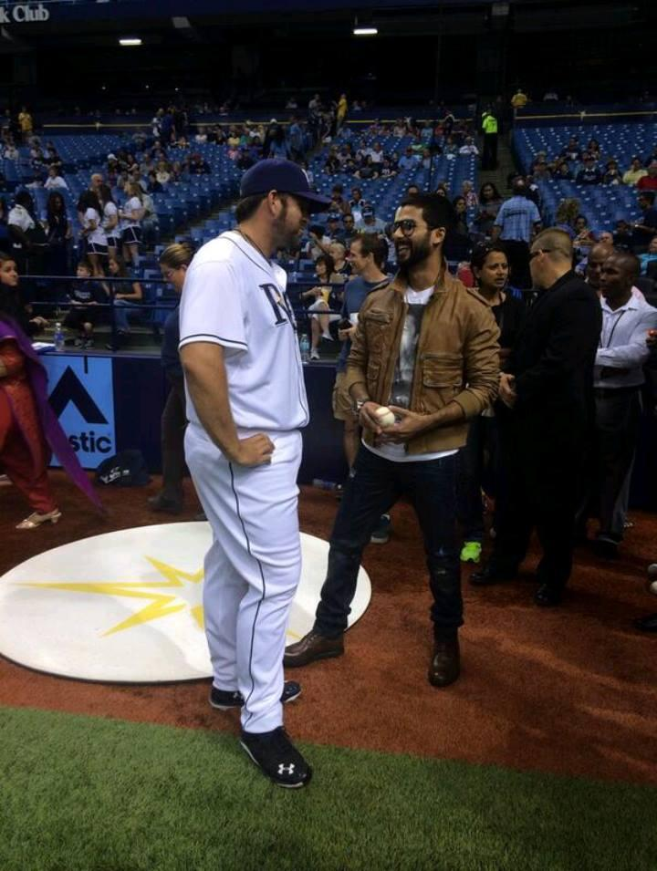Shahid Kapoor At Opening Baseballs Ceremonial First Pitch In Tampa