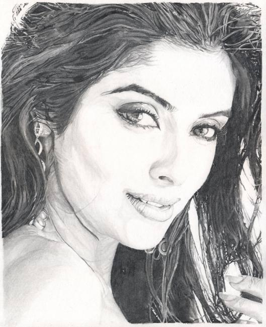 Asin - The Delicate Beauty Glamour Look Sketched Painting Photo Still