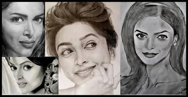 Deepika Padukone - The Gorgeous Beauty Nice Sketched Painting Photo Still