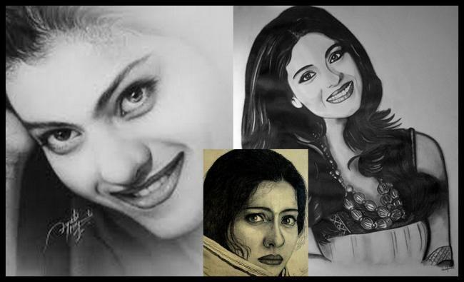 Kajol - The Bengali Beauty Fabulous Look Sketched Painting Photo Still