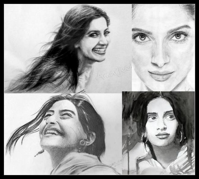 Sonam Kapoor Cool Smiling Look Sketched Painting Photo Still