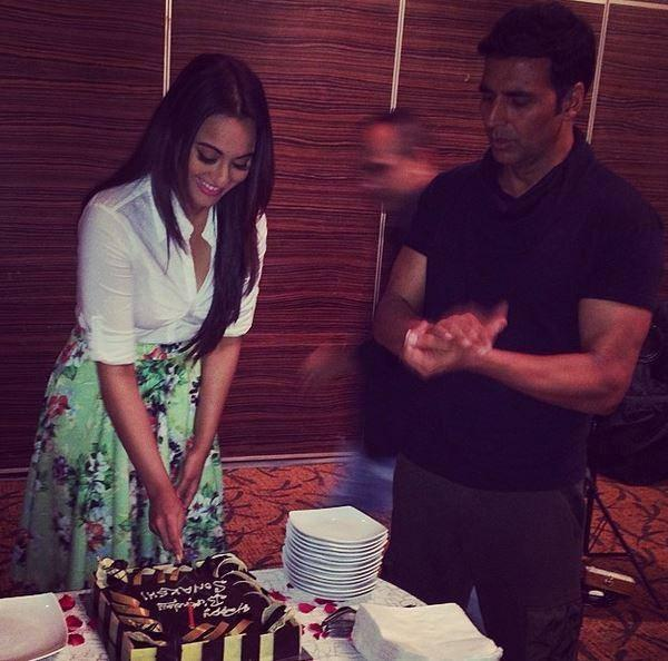 Sonakshi Cuts Cake During Their Movie Soldier Promotional Events