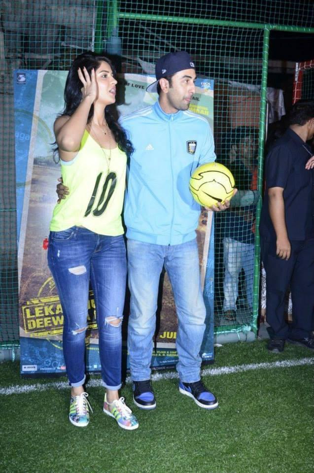 Deeksha Seth And Ranbir Kapoor Clicked At The Promotion Of Lekar Hum Deewana Dil Movie