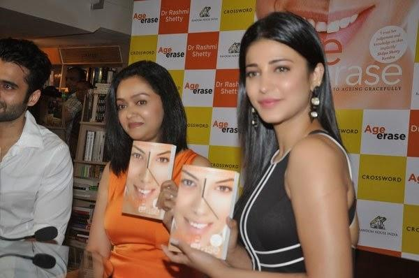 Jackky Bhagnani,Dr Rashmi Shetty And Shruti Haasan Show The Book Towards Camera During The Launch Of Dr Rashmi Shetty Age Erase Book