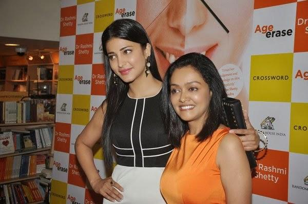 Shruti Haasan And Dr Rashmi Shetty Posed For Camera At The Launch Of Dr Rashmi Shetty Age Erase Book