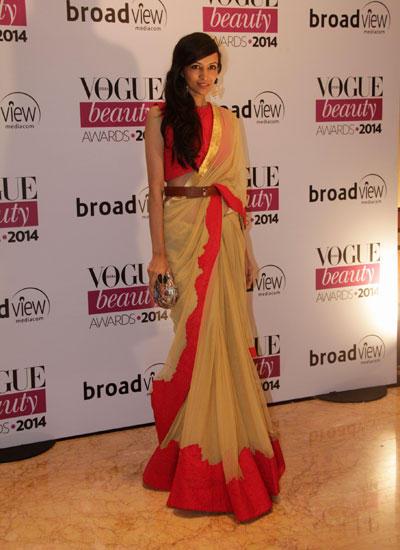 Dipannita Sharma In Saree Traditional Look During Vogue Beauty Awards 2014