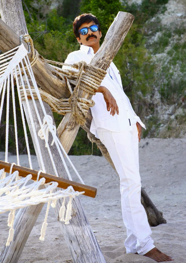 Ravi Teja Cool Handsome Look In White Tee Photo Still From Power Movie
