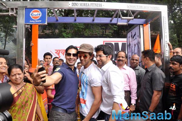 Dino Morea,Hrithik Roshan And Aditya Thackeray Taking A Selfie At Dino Morea 10th Fitness Station Launch