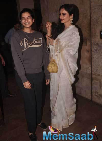 Rekha And Rhea At Sonam Kapoor-Starrer Khoobsurat Held At The Lightbox Theatres