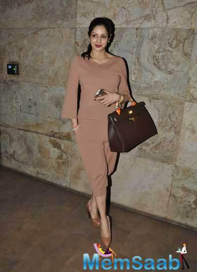 Sridevi Kapoor With A Hot Look Spotted At Screening Of Khoobsurat