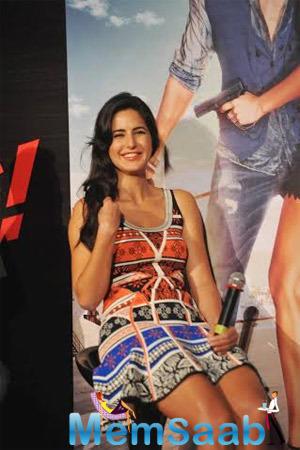 Katrina Smiling During Interacts With Media At Bang Bang Title Song Launch Event