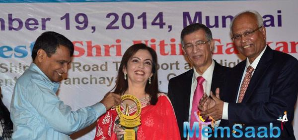 Nita Ambani  Receives Priyadarshni Award At The Trident In Mumbai