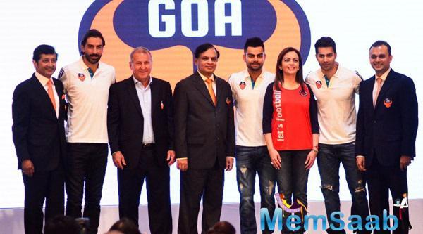 Robert Pires,Virat Kohli,Nita Ambani,Varun Dhawan And Others Clicked During FC Goa Official Jersey Launch Event
