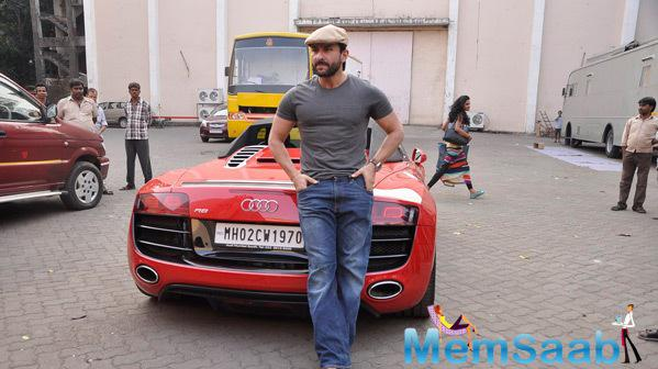 Saif Ali Khan Posed With His Audi Car During The Promotion Of Happy Ending