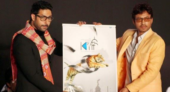 Abhishek Bachchan And Irrfan Khan Posed During The Opening Ceremony Of 20th Kolkata Film Fest