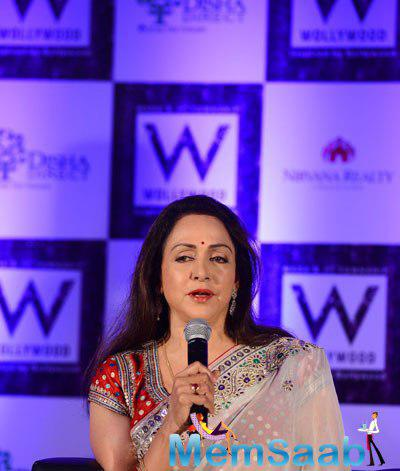 Hema Malini Interact With Media During The Launch Of Wollywood Magazine