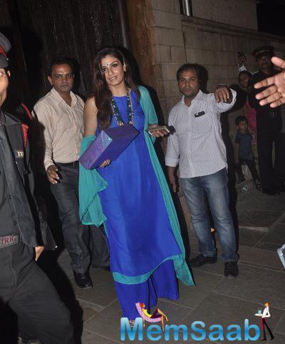 Raveena Tandon Glamour Look During Aaradhya Bachchan 3rd Birthday Party