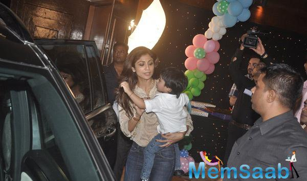 Shilpa Shetty With Son Viaan Raj Snapped At Aaradhya Bachchan 3rd Birthday Party