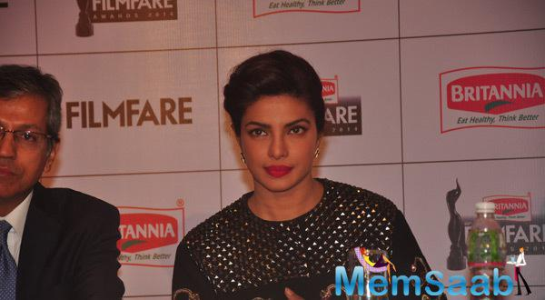Priyanka Chopra Attended A Press Meet This Evening For Filmfare Awards.