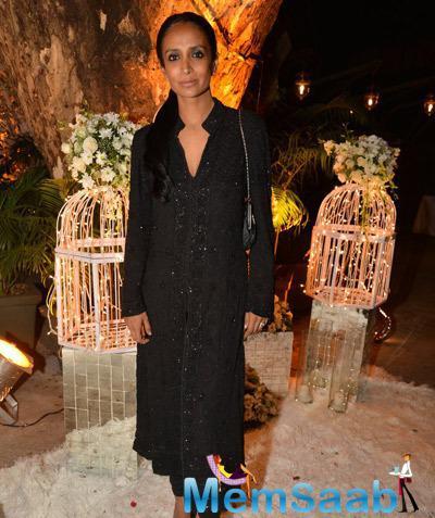Suchitra Pillai Malik In Black Dress At Purabi Joshi Wedding Ceremony