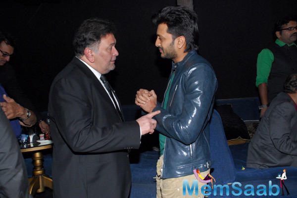 Rishi Kapoor And Riteish Deshmukh In Deep Conversation During Sajid Nadiadwala Film Murder Mystery Launch Event
