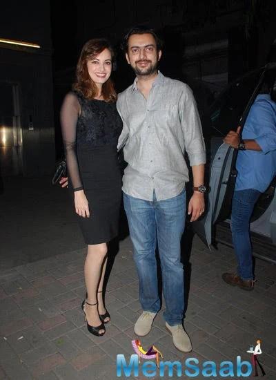 Newly Married Couple Dia And Sahil Pose At Jackky Bhagnani Birthday Bash