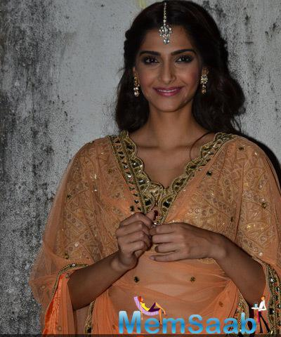 Sonam With Beautiful Bridal Outfit Snapped At  DKD Music Launch Event