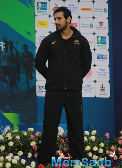 John Abraham Posed At The Standard Chartered Mumbai Marathon 2015