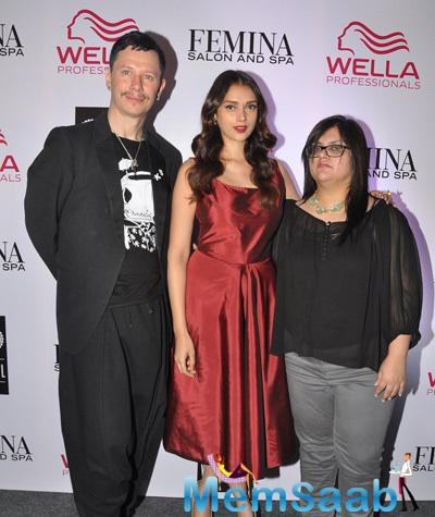Aditi Rao Hydari Posed For Camera At The Cover Launch Of Femina Salon And Spa Magazine