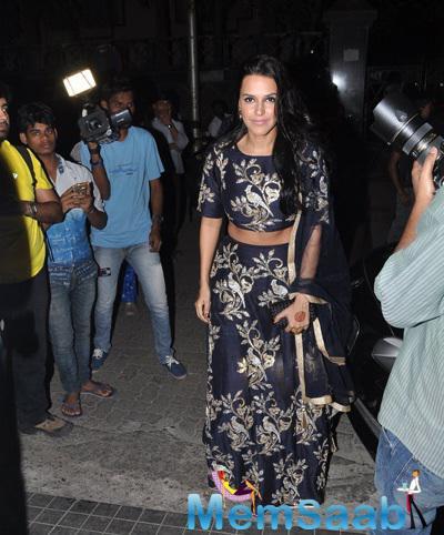 Neha Dhupia Glamour Look During Soha Ali Khan And Kunal Khemu Wedding Party