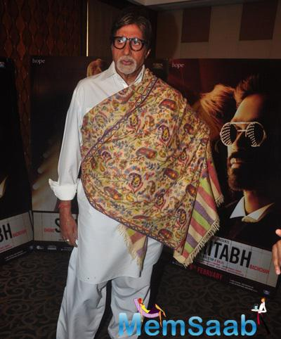 Amitabh Bachchan Strikes A Pose For Camera During The Promotion Of Shamitabh Movie At Mehboob Studio
