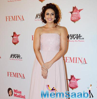 Huma Qureshi Opted A Strapless Gown For Femina Beauty Awards Night