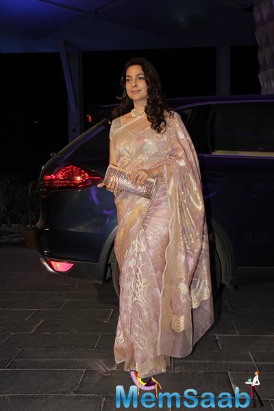 Juhi Chawla Charming Look In Saree At Smita Thackerey Son Wedding Reception
