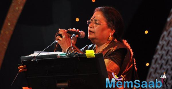 Usha Uthup Performs On The Stage At The Times Now ICICI NRI Of The Year Award Function