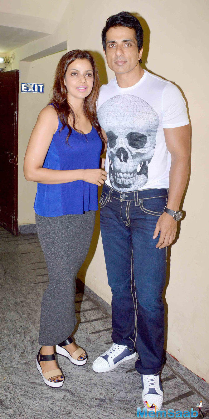 Sonu Sood Posed With Wife At The Screening Of ABCD 2 Movie