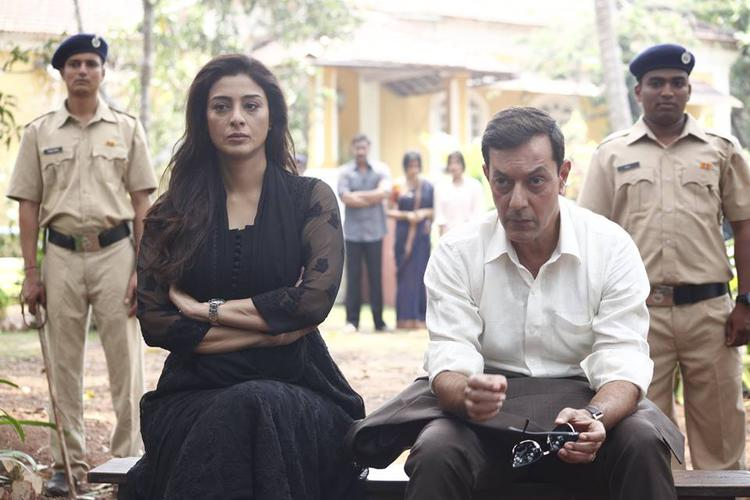 Tabu And Rajat Kapoor In Serious Look Still From Drishyam Movie