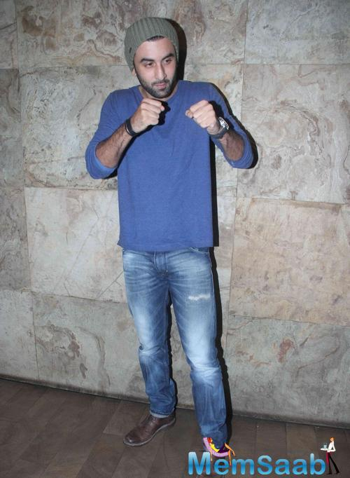 Ranbir Kapoor Strikes A Pose At The Special Screening Of Brothers Movie