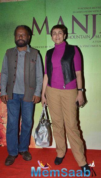Ketan Mehta Posed With Wife Deepa Sahi At The Special Screening Of Manjhi