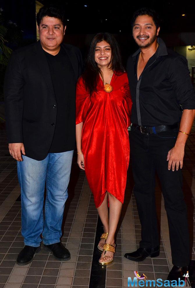 Birthday Boy Sajid Khan Pose With Shreyas Talpade And His Wife Deepti