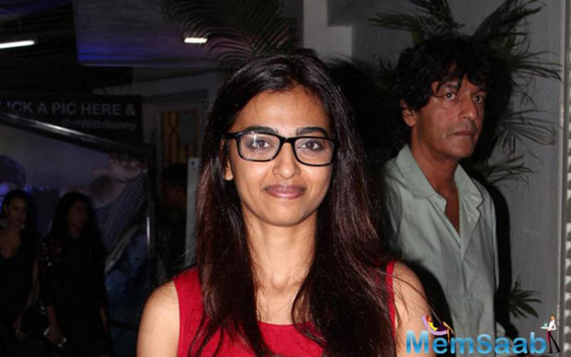 Radhika Apte came to support the movie at the screening with the nerdy look