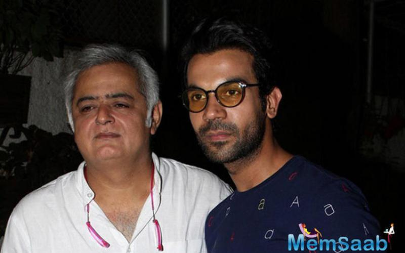 Rajkumar, who plays a journalist in the film, strikes a pose with Director Hansal Mehta