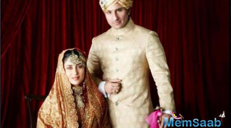 Saif Ali Khan married girlfriend of over 4-years actress Kareena Kapoor, at the age of 41, in a royal wedding ceremony in Pataudi.