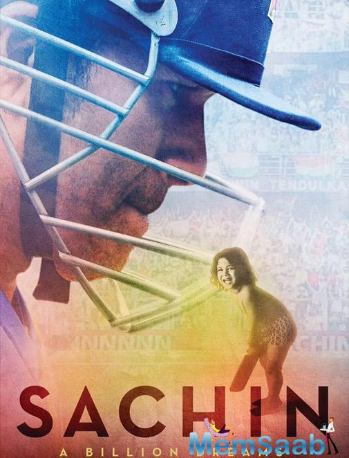 The poster is showcasing Sachin's famous childhood pic with a bat and in the background, we are thrown back to little master's face in his helmet. Perfectly summarising the legendary journey of a kid to the master of the game.