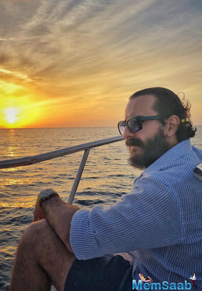 Kunal Kemmu also shared a killer photo of Saif, while the family were sailing on a yacht.