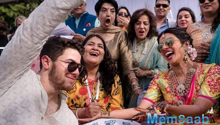 From the bride's side, all her close friends and family members, including mother Madhu Chopra, brother Siddharth and cousins Parineeti and Mannara, were present at the ceremony.