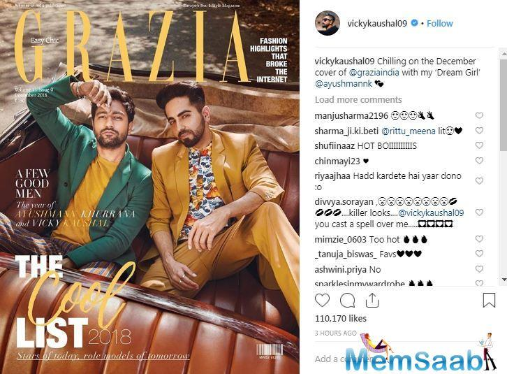 The duo looks dapper featuring on the Grazia cover. While the 'Badhaai Ho' actor sports a mustard suit with a printed shirt, Vicky dons a green blazer with blue and rust pinstripe pants.