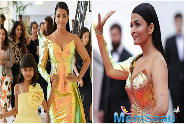 Seasoned Cannes celebrity, Aishwarya Rai Bachchan, owned the red carpet at the French Riveria in a metallic hued dual-toned fish-cut ensemble.