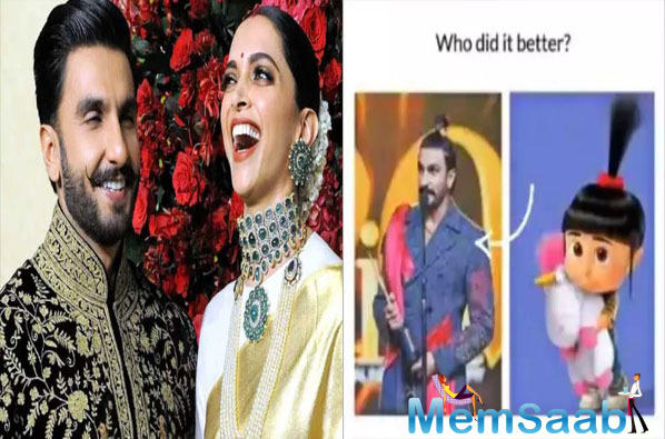 Taking to her Instagram stories, Deepika shared a picture of Ranveer along with Agnes from the film, 'Despicable Me' and wrote, 'Who did better?'