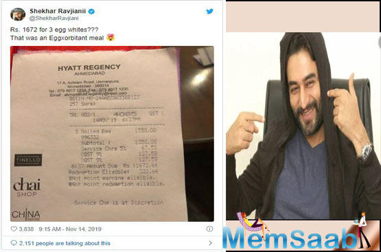 After Bollywood actor Rahul Bose shared about his unexpected experience of paying Rs 442 for two bananas at a plush five-star hotel in Chandigarh in July this year, now music composer Shekhar Ravjiani seems to be in a similar situation.