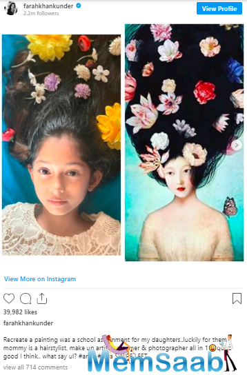 Farah took to Instagram, where she shared two photographs of Diva and Anya, recreating vintage paintings with hair and make-up.